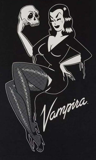 Vampira Jumbo Skull Pin-Up | T-SHIRT