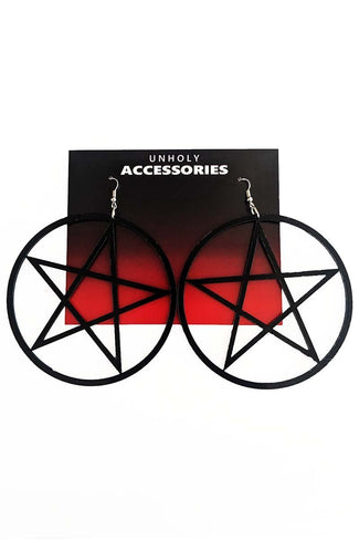 Large Pentagram [Black] | EARRINGS