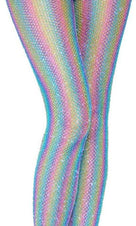 Coloured Lurex Striped [Shimmer Rainbow] | FISHNET TIGHTS