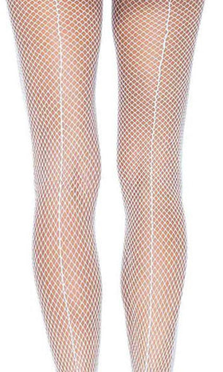 Fishnet With Back Seam White | PANTYHOSE