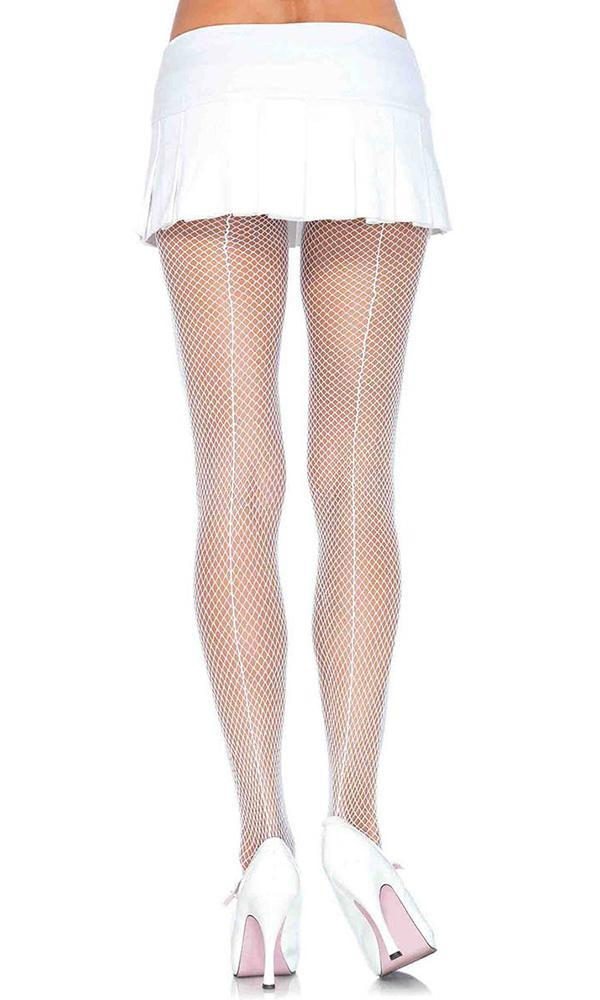742f0feda9d9f Leg Avenue - Fishnet With Back Seam White Pantyhose - Buy Online ...