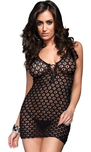 Mini Dress | LACE UP FRONT & G-STRING 2PC*
