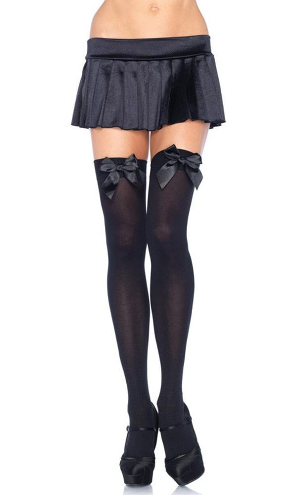 Opaque Black With Black Bow | OVER THE KNEE