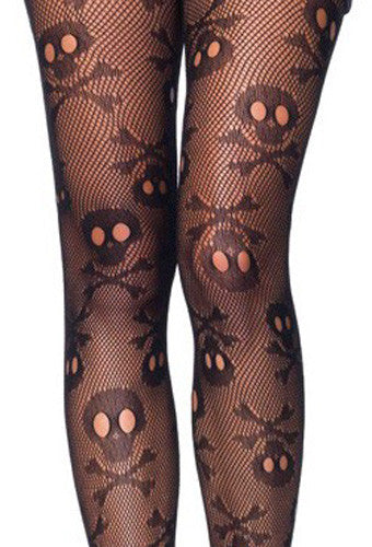 New Leg Avenue 9986 Pirate Booty Crossbones Fishnet Pantyhose