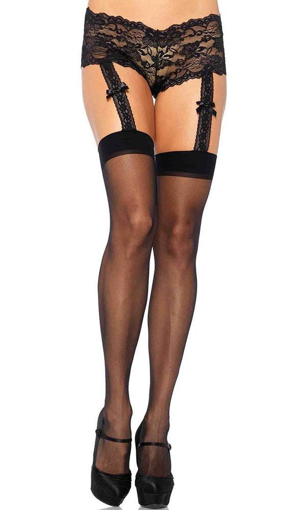 ef0847c1e62 Leg Avenue - Sheer Stockings With Lace Garter Panty - Buy Online ...