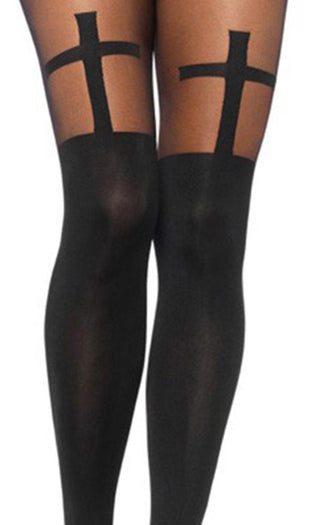 Spandex Opaque Cross | PANTYHOSE