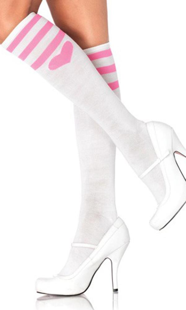 20abd97a732e0 Leg Avenue - Sweetheart Athletic White-Pink Knee High Socks - Buy ...