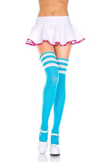 Acrylic Athlete Multi Stripe [Neon Blue/White] | THIGH HIGH