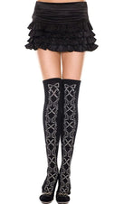 Acrylic Faux Lace Up And Floral [Black] | THIGH HIGHS