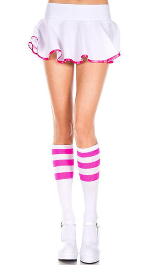 Acrylic Knitted Triple Stripe [White/Neon Pink] | KNEE HIGH SOCKS^