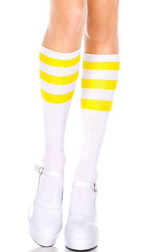 Acrylic Knitted Triple Stripe [White/Neon Yellow] | KNEE HIGH SOCKS