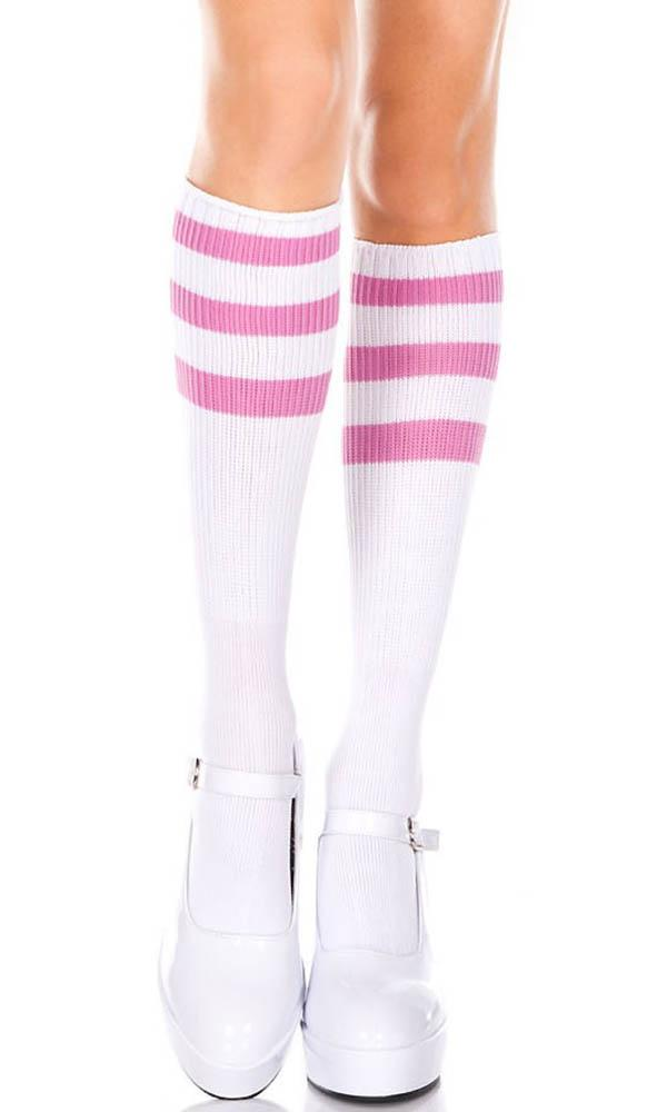 Acrylic Knitted Triple Stripe [White/Pink] | KNEE HIGH SOCKS