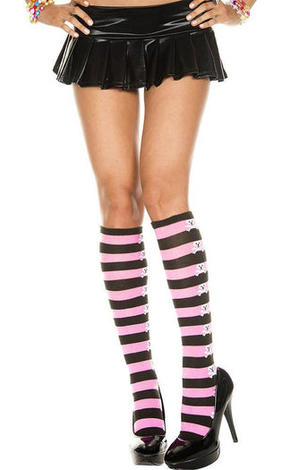 Acrylic Stripe [Black/Pink] | KNEE HIGH SOCKS