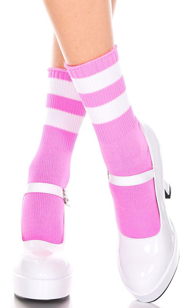 Acrylic Stripe Top [Pink/White] | ANKLE SOCKS*