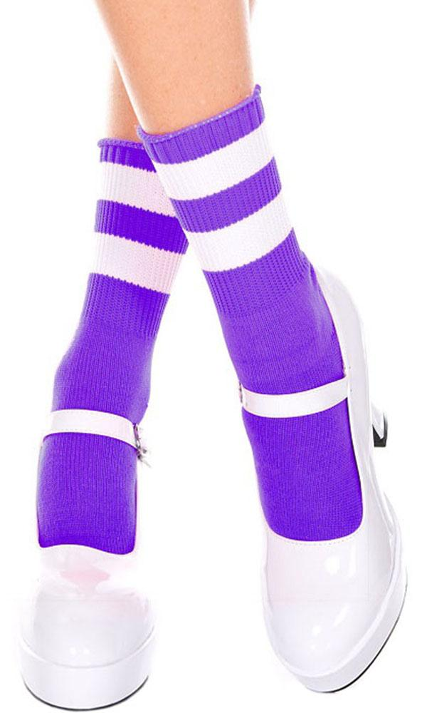 Acrylic Stripe Top [Purple/White] | ANKLE SOCKS*