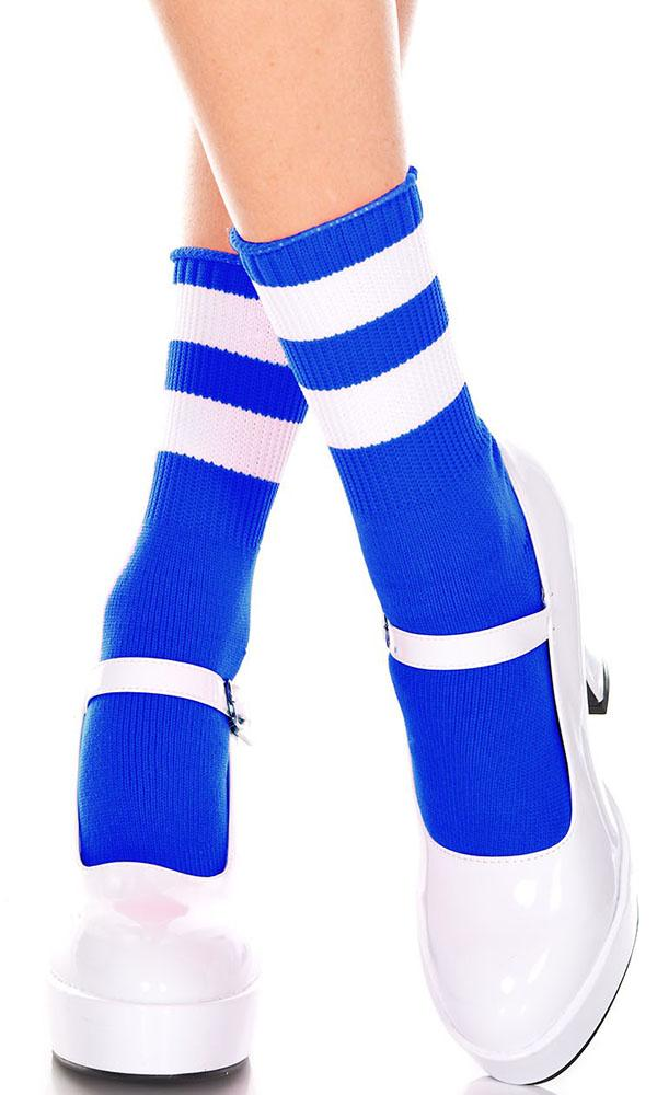 Acrylic Stripe Top [Royal Blue/White] | ANKLE SOCKS*