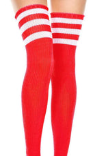 Spandex Acrylic Athlete [Red/White] | THIGH HIGH