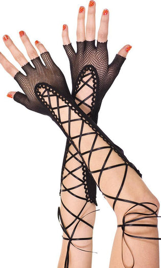 Fingerless Lace Up Fishnet | WARMER