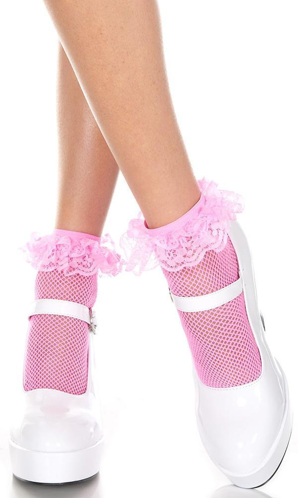 Fishnet Ruffle Trim [Neon Pink] | ANKLE SOCKS