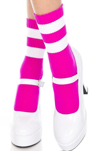 Fuchsia/White Acrylic Stripe Top | ANKLE SOCKS