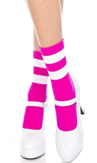 Fuchsia/White Acrylic Stripe Top | ANKLE SOCKS*