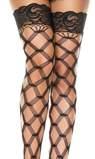 Multi Fence Net [Black] | THIGH HIGH