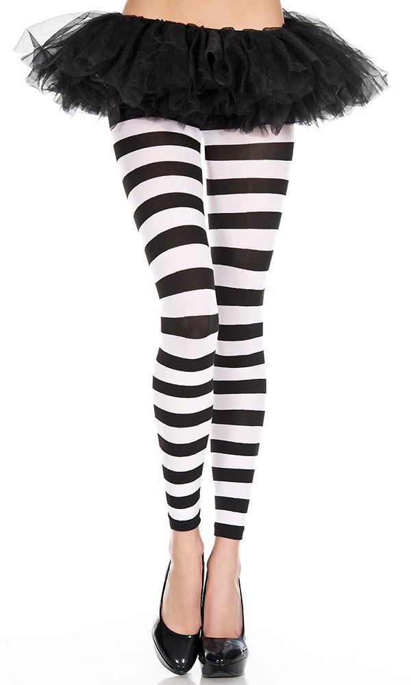 Opaque Horizontal Stripe [Black/White] | FOOTLESS LEGGINGS*