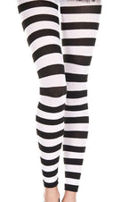 Opaque Horizontal Stripe [Black/White] | FOOTLESS LEGGINGS