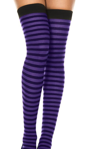 Opaque Striped [Black/Purple] | THIGH HIGH