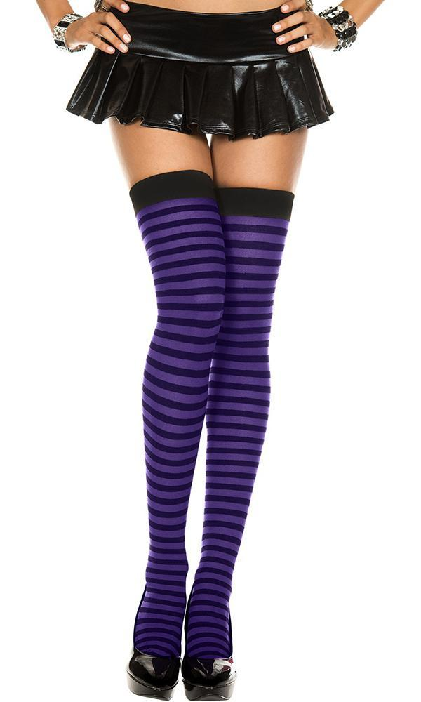 Opaque Striped [Black/Purple] | THIGH HIGH^