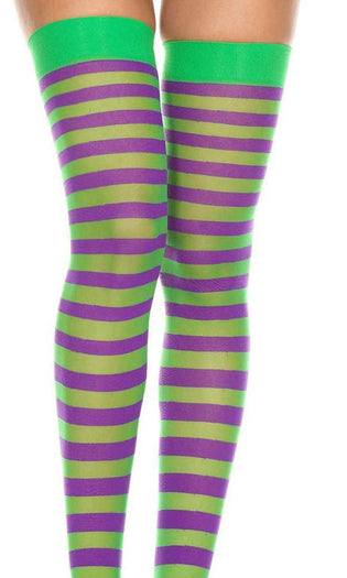 Opaque Striped [Green/Purple] | THIGH HIGH