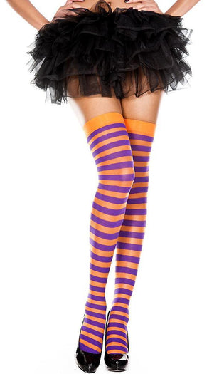 Opaque Striped [Orange/Purple] | THIGH HIGH