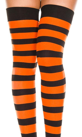 Opaque Wide Stripe [Black/Orange] | THIGH HIGH