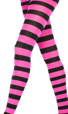 Opaque Wide Stripe [Black/Pink] | PANTYHOSE