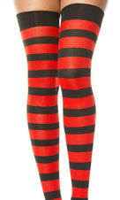 Opaque Wide Stripe [Black & Red] | THIGH HIGH