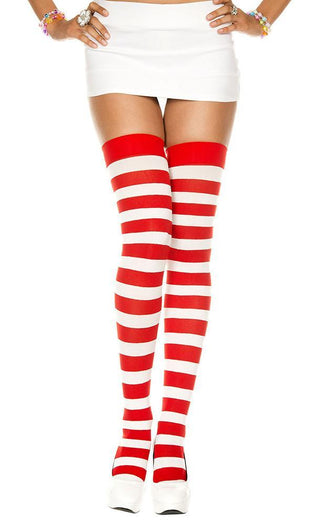 Opaque Wide Stripe [White/Red] | THIGH HIGH