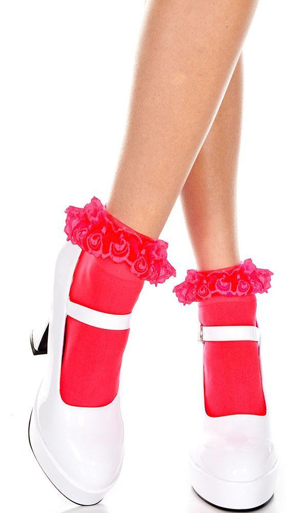 1e78fe4790b07 Music Legs - Red Frill Ankle Socks - Buy Online Australia – Beserk