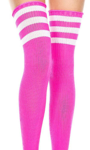 Spandex Acrylic Athlete [Hot Pink/White] | THIGH HIGH