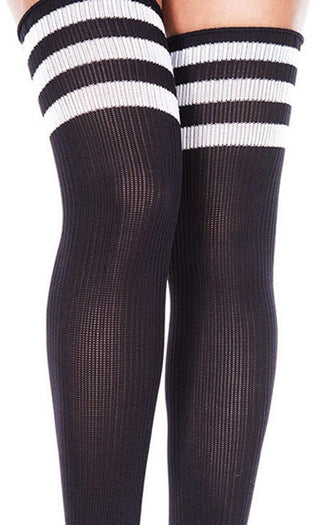Spandex Acrylic Athlete [Black/White] | THIGH HIGH