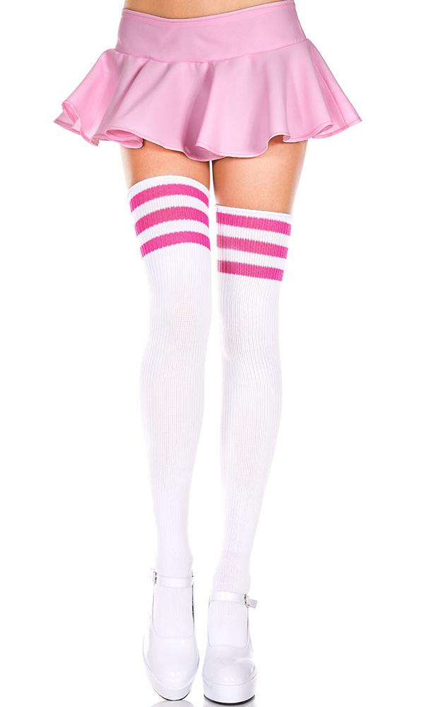 Spandex Acrylic Athlete [White/Hot Pink] | THIGH HIGH