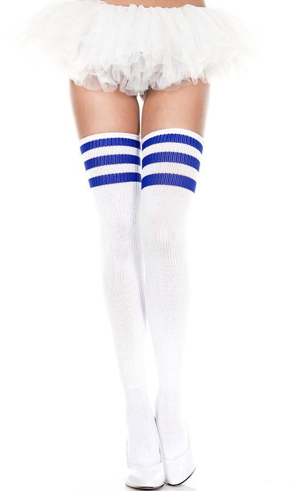 Spandex Acrylic Athlete [White/Royal Blue] | THIGH HIGH
