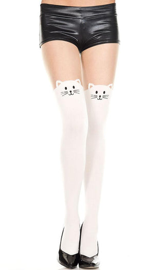 Spandex Kitty Print [Beige/White] | FAUX THIGH HIGH PANTYHOSE^