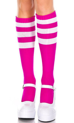 Triple Stripe [Fuchsia/White] | KNEE HIGH SOCKS*