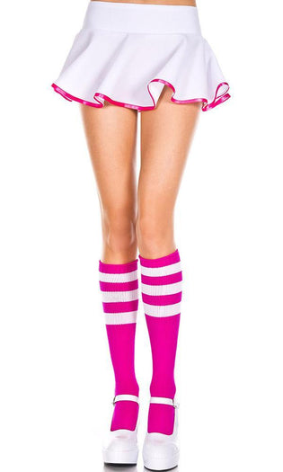 Triple Stripe [Fuchsia/White] | KNEE HIGH SOCKS