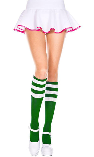 Triple Stripe [Kelly Green/White] | KNEE HIGH SOCKS