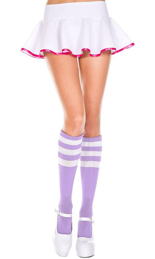 Triple Stripe [Light Purple/White] | KNEE HIGH SOCKS