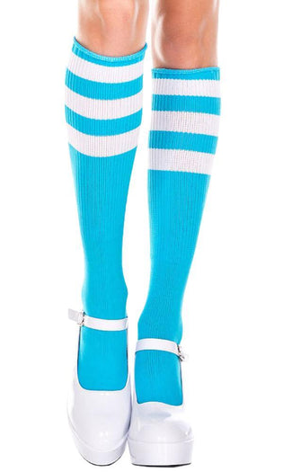 Triple Stripe [Neon Blue/White] | KNEE HIGH SOCKS