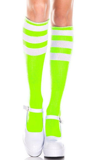 Triple Stripe [Neon Green/White] | KNEE HIGH SOCKS