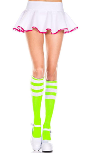 Triple Stripe [Neon Green/White] | KNEE HIGH SOCKS*