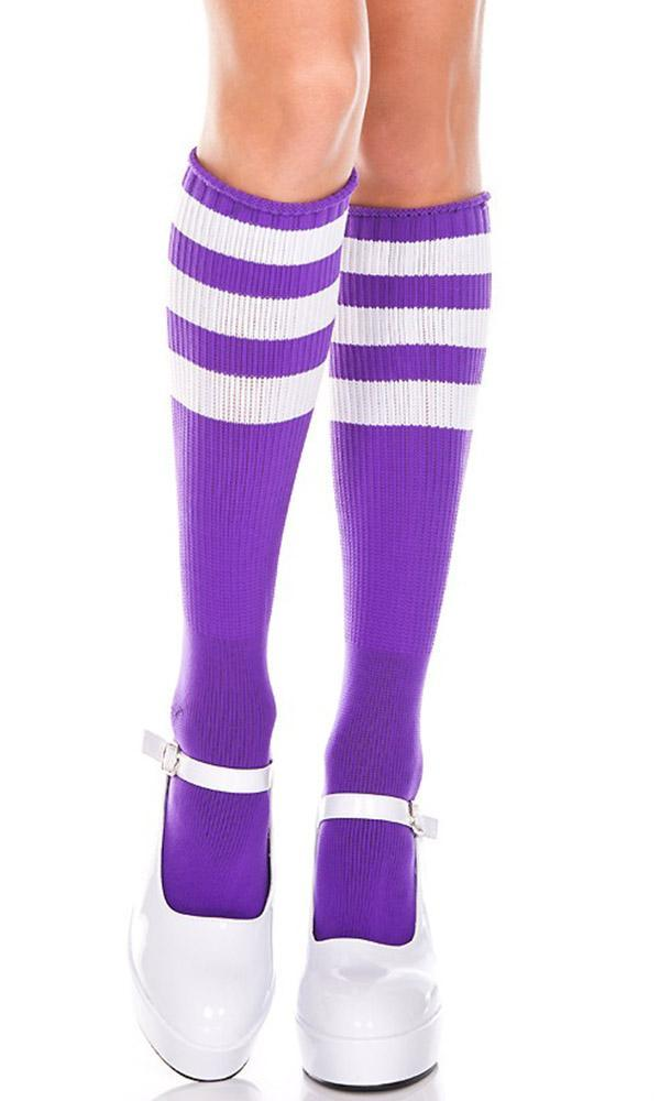 Triple Stripe [Purple/White] | KNEE HIGH SOCKS